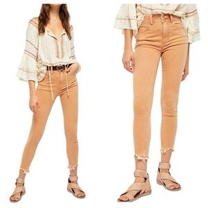Free People High Rise, Raw Hem Skinny Jeans NEW 32